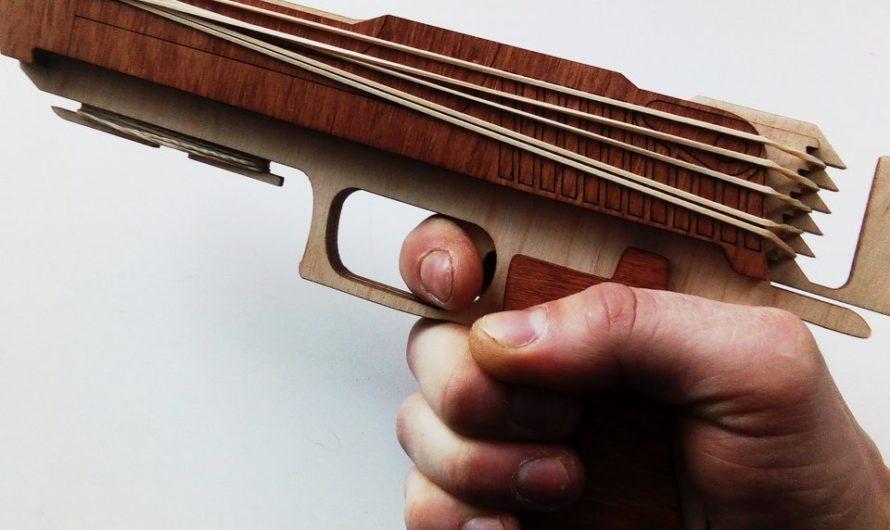 Пистолет-резинкострел. Макет для лазера, сборка